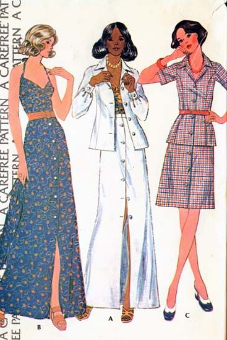 1974 sewing pattern featuring different skirt lengths