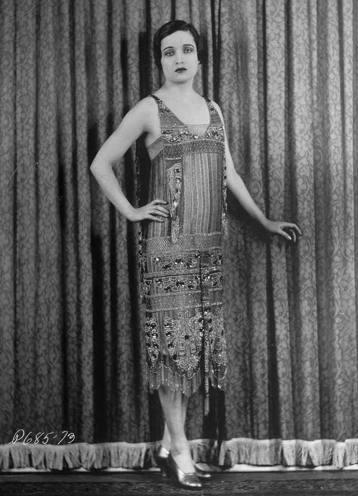 alice joyce in beaded flapper gown