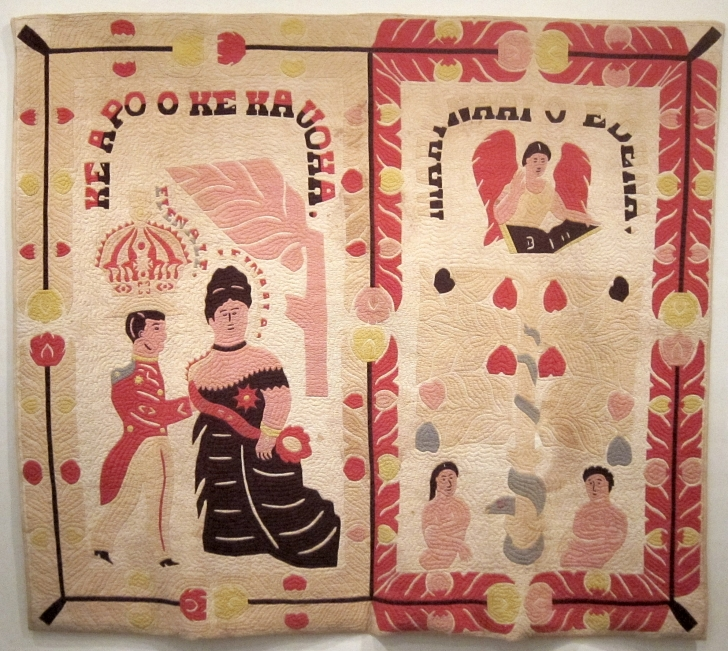 pre-1918 Hawaiian quilt depicting Queen Lil'uokalani