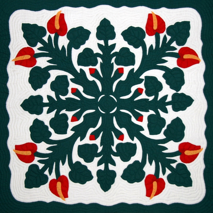 traditional Hawaiian quilt in green