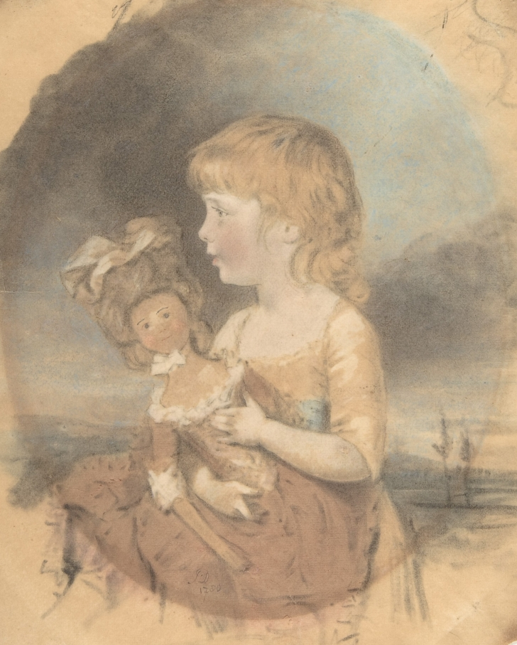 portrait of a child holding a fashion doll, 1780