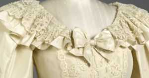 detail of collar of Princess Diana's wedding dress