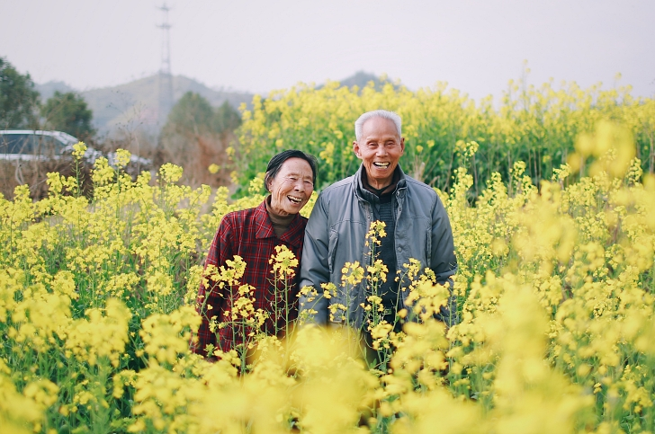 elderly couple smiling in a field of yellow flowers