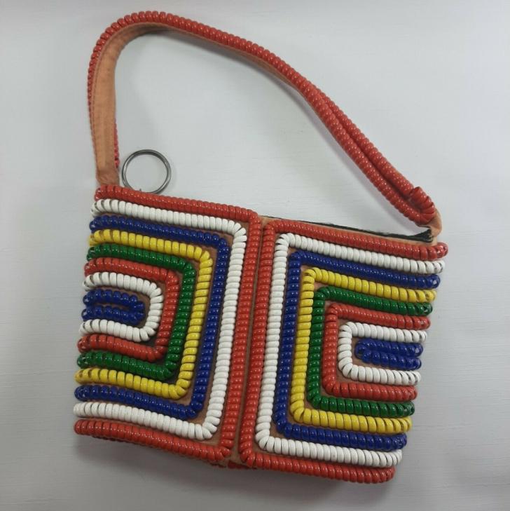 telephone cord purse in bright colors
