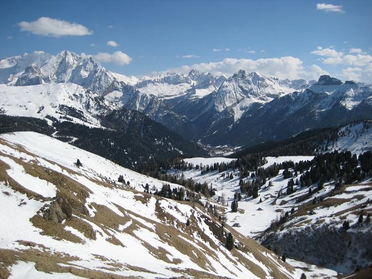 Italian Alps covered in snow