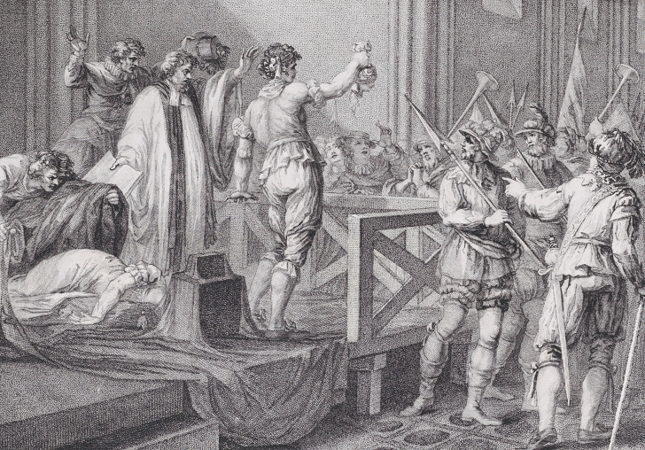 engraving of the executions of Mary Queen of Scots done by William Nelson Gardiner