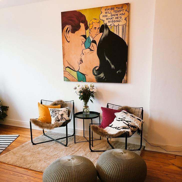 retro artwork in modern living room