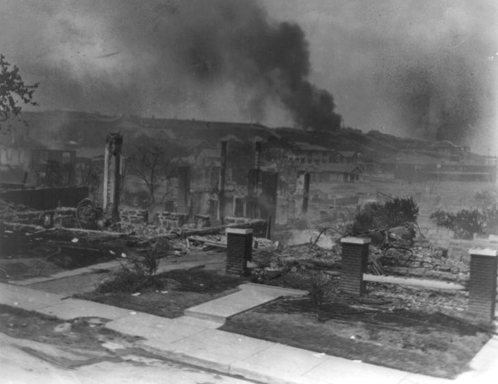 Greenwood Massacre smoldering houses