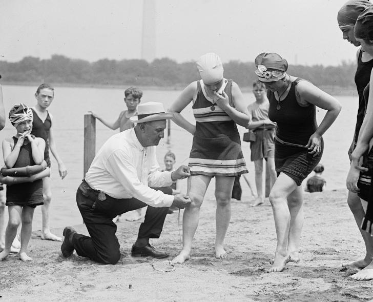 measuring bathing suit length in 1922