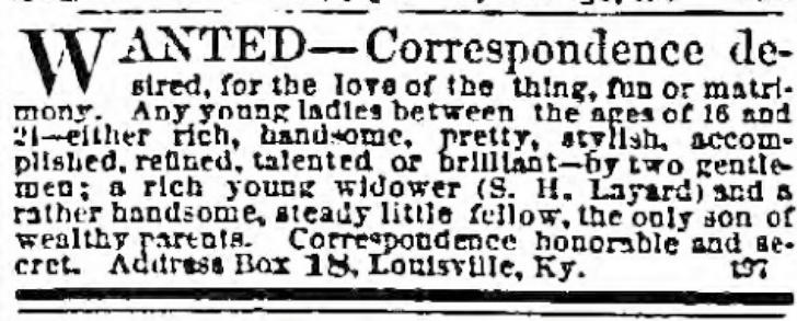 newspaper object matrimony ad 1865