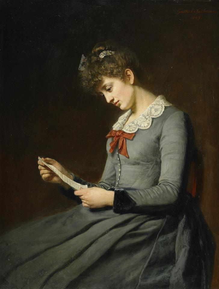 painting of a woman reading a love letter