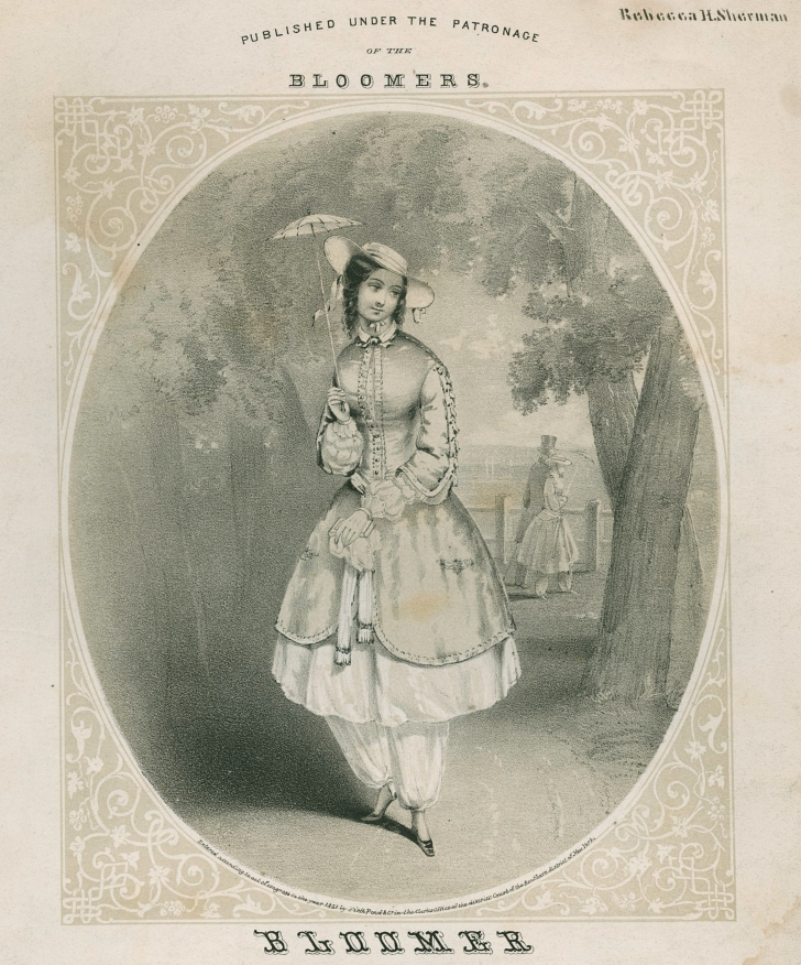 depiction of Amelia Bloomer from 1850s sheet music cover