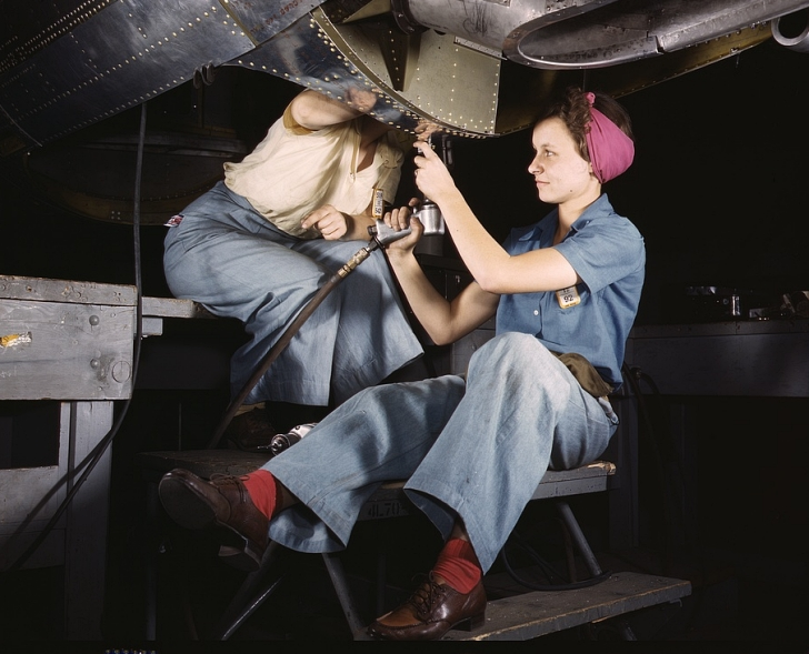 women doing war work on airplanes, 1942