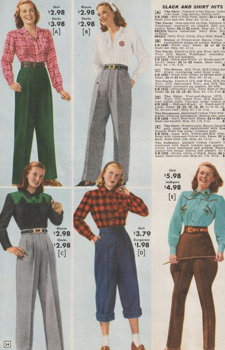 1940s women's pants from mail order catalog