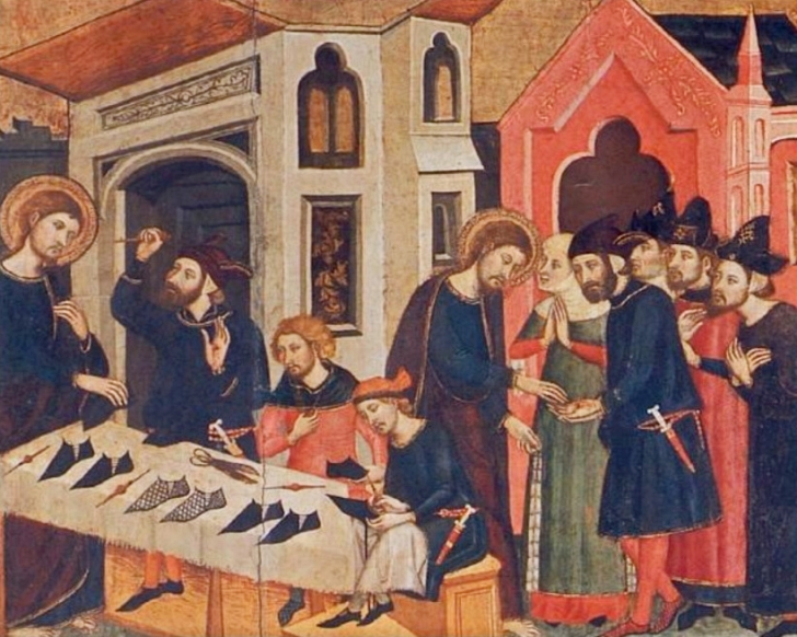 painting of medieval shoemakers