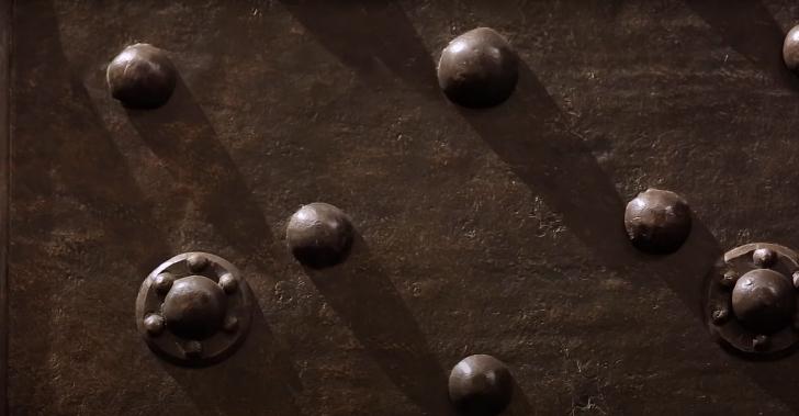 rivets on a baroque era strong box