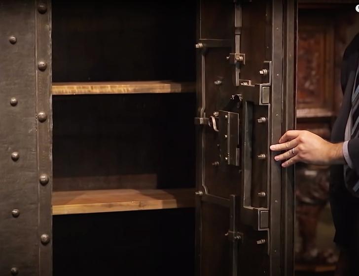 shelves inside a baroque era strong box