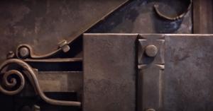 lock mechanisms on a baroque era strong box