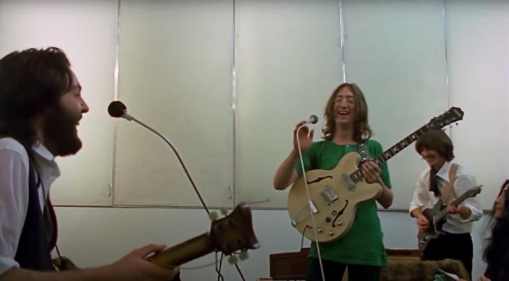 studio footage of The Beatles in 1969