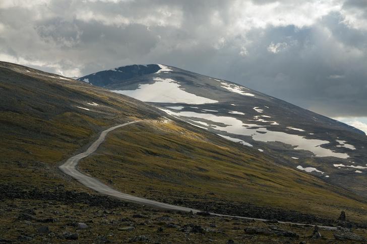 mountains around Galdhøpiggvegen Norway, near the Lendbreen Pass
