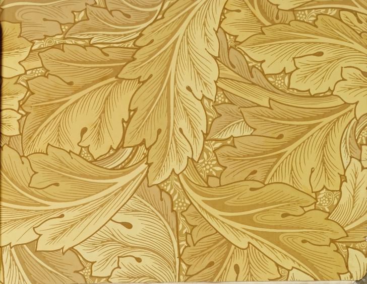 William Morris wallpaper Acanthus Leaf sample in yellow