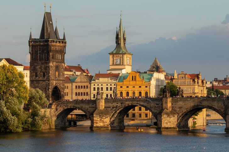 Charles Bridge with 2 towers in shot