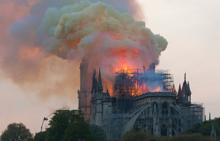 Notre Dame on fire in 2019