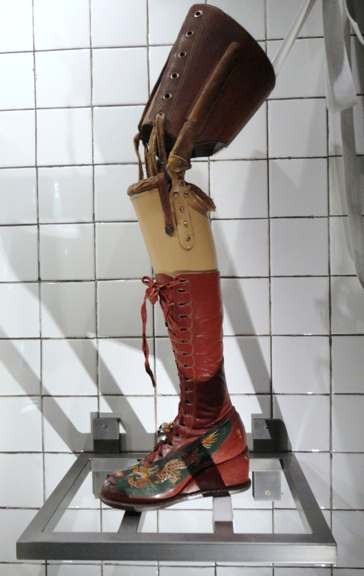 Frida Kahlo's red boot and prosthetic leg