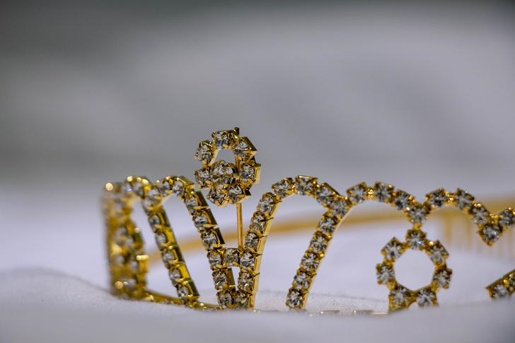 gold and rhinestone tiara