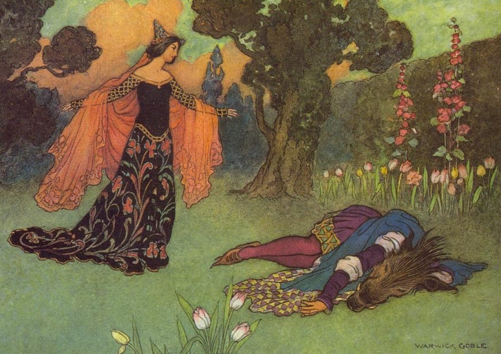 1913 illustration of Beauty and Beast