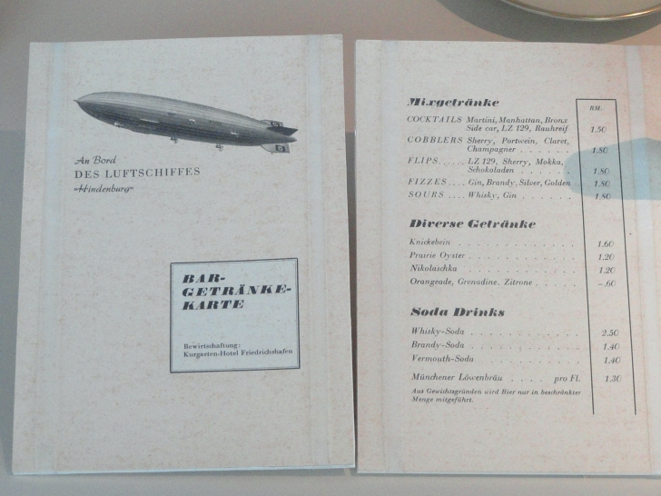 Hindenburg drinks menu