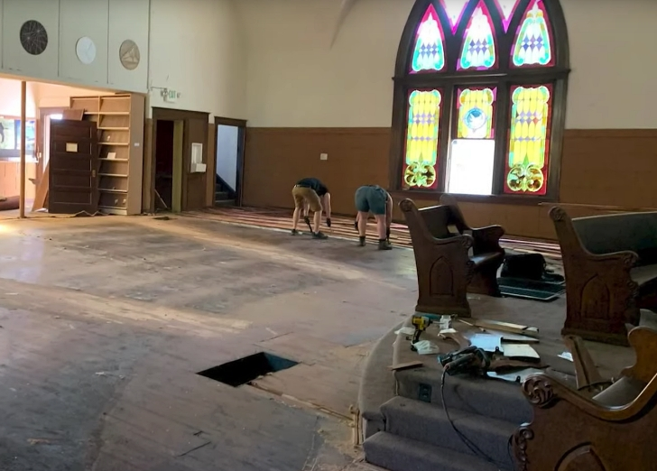 They also saved some pews, the hardwood flooring, and some other elements as well, but they also found a 155-year-old time capsule on the premises.