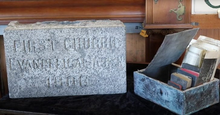 time capsule and cornerstone from German Evangelical Church in Seattle