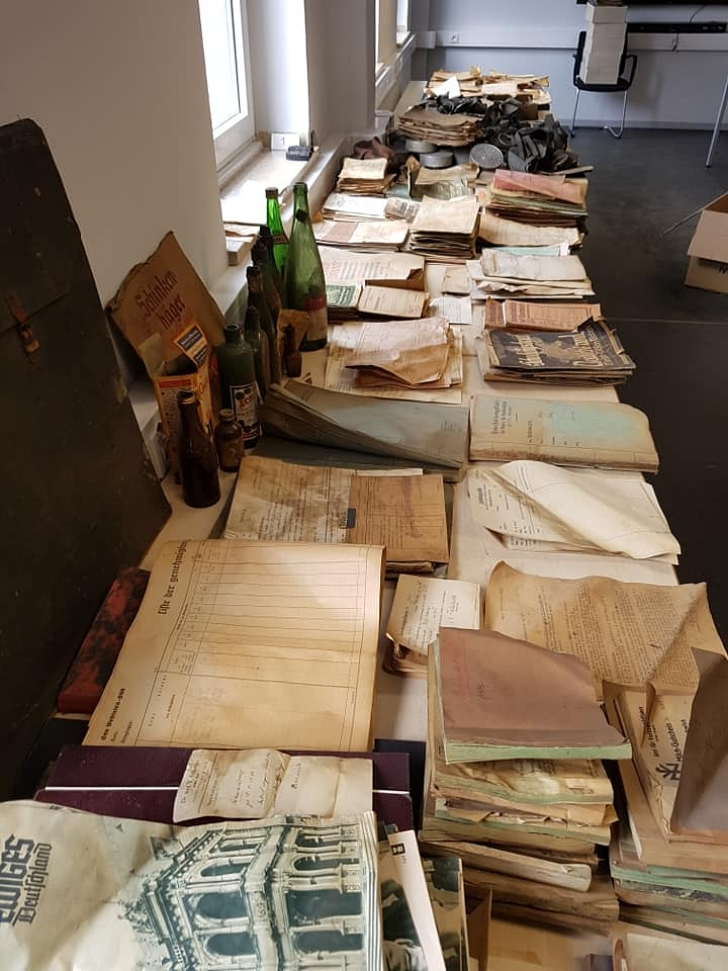 papers and objects pulled from a Nazi stash in Hagen