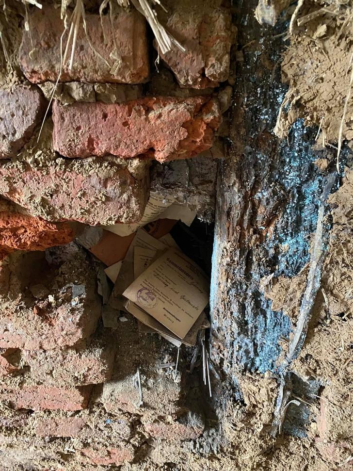 cache of Nazi documents hidden inside a wall in Hagen Germany