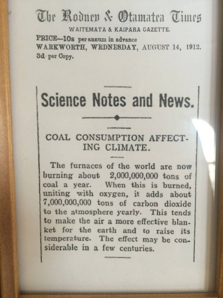 climate change newspaper article from 1912