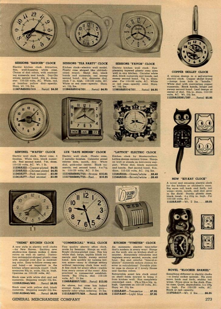 clocks in 1950s mail order catalog