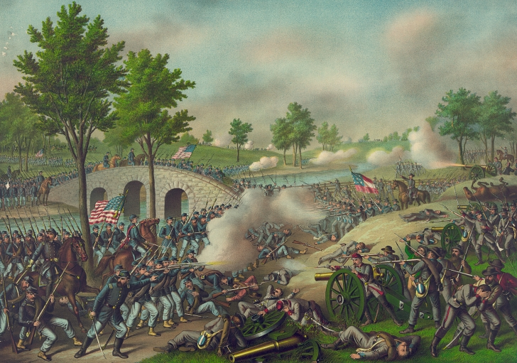 color lithograph of the battle of Antietam