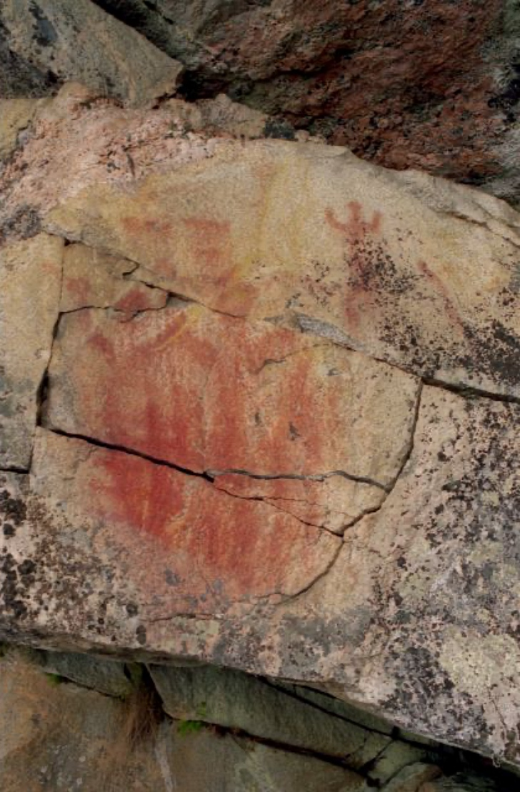 Finland red ochre neolithic rock paintings