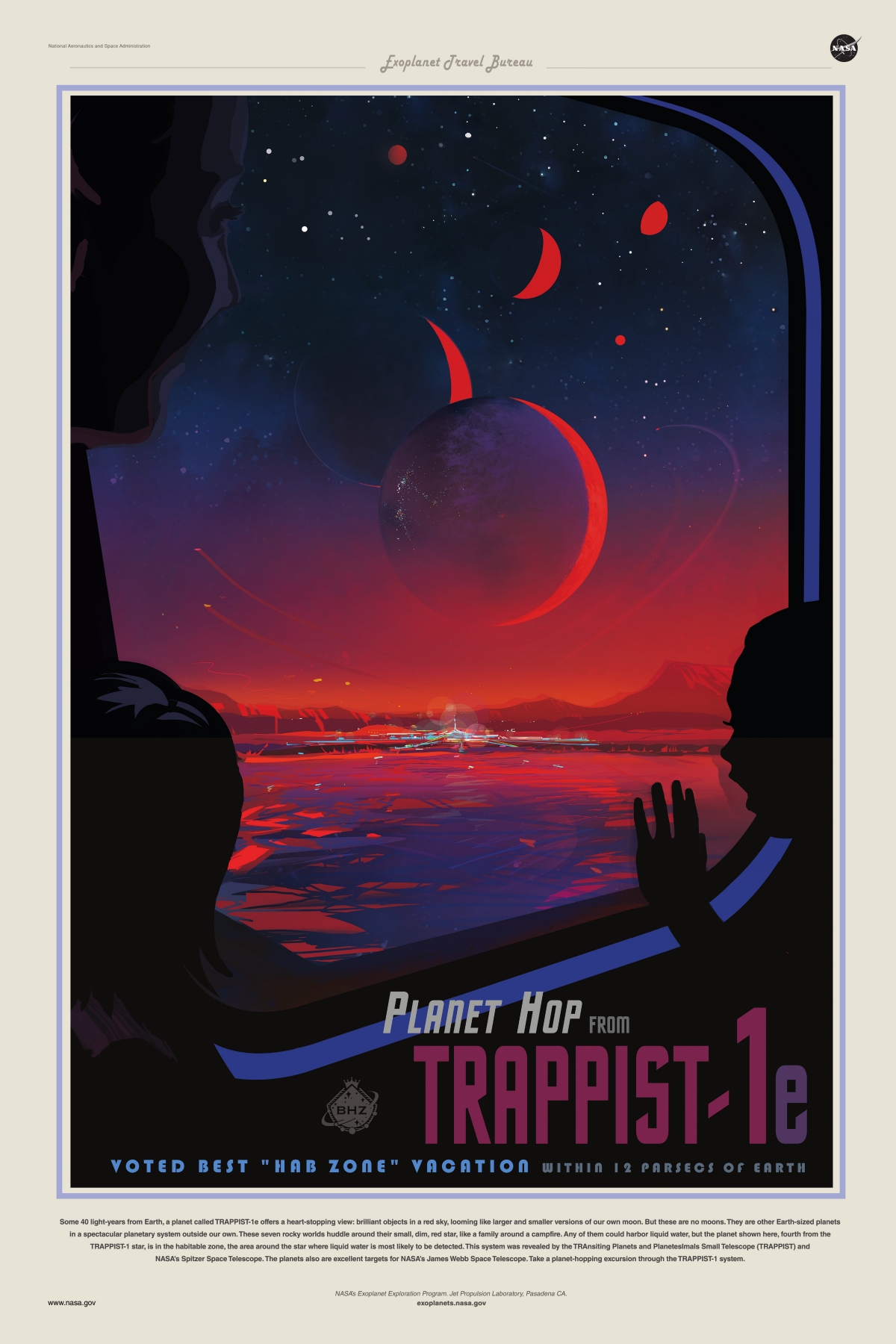 TRAPPIST-1e exoplanet travel poster