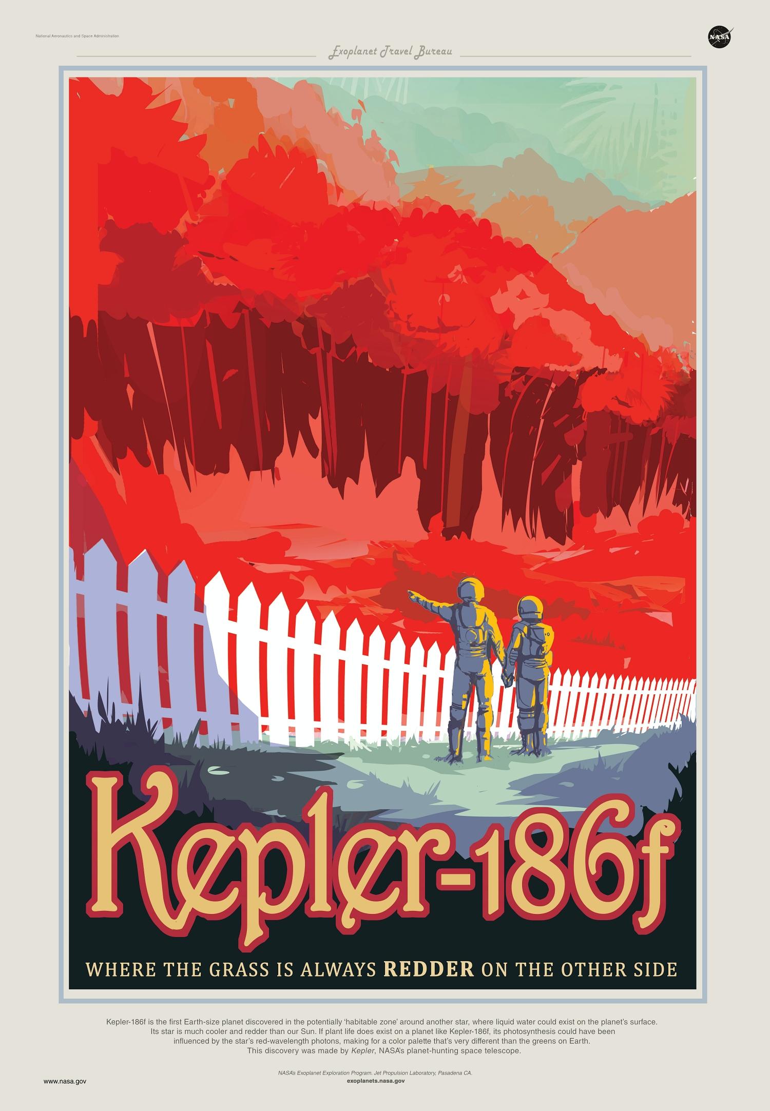 Kepler-186f exoplanet travel bureau poster