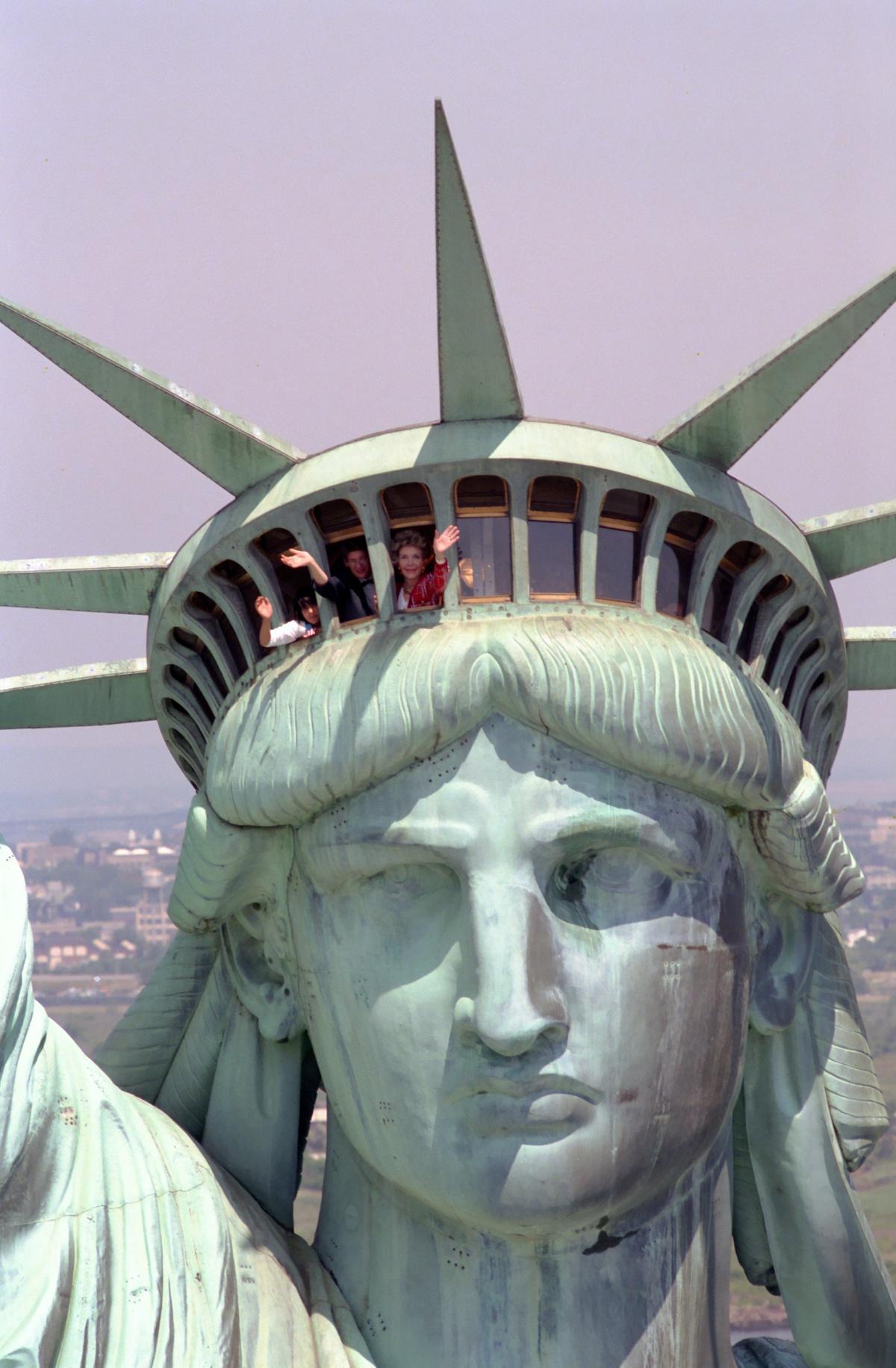 Nancy Reagan inside Statue of Liberty Head
