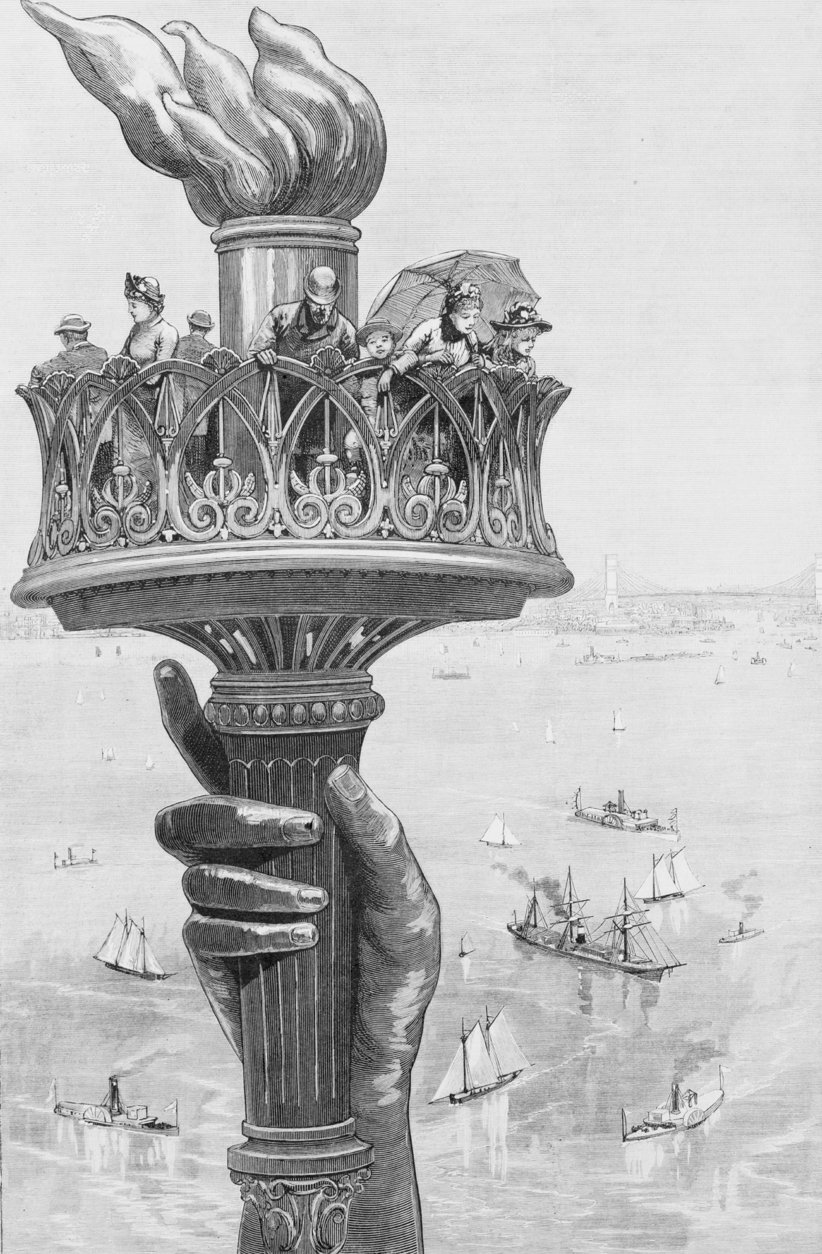 1885 illustration of visitors on the as-yet completed torch balcony