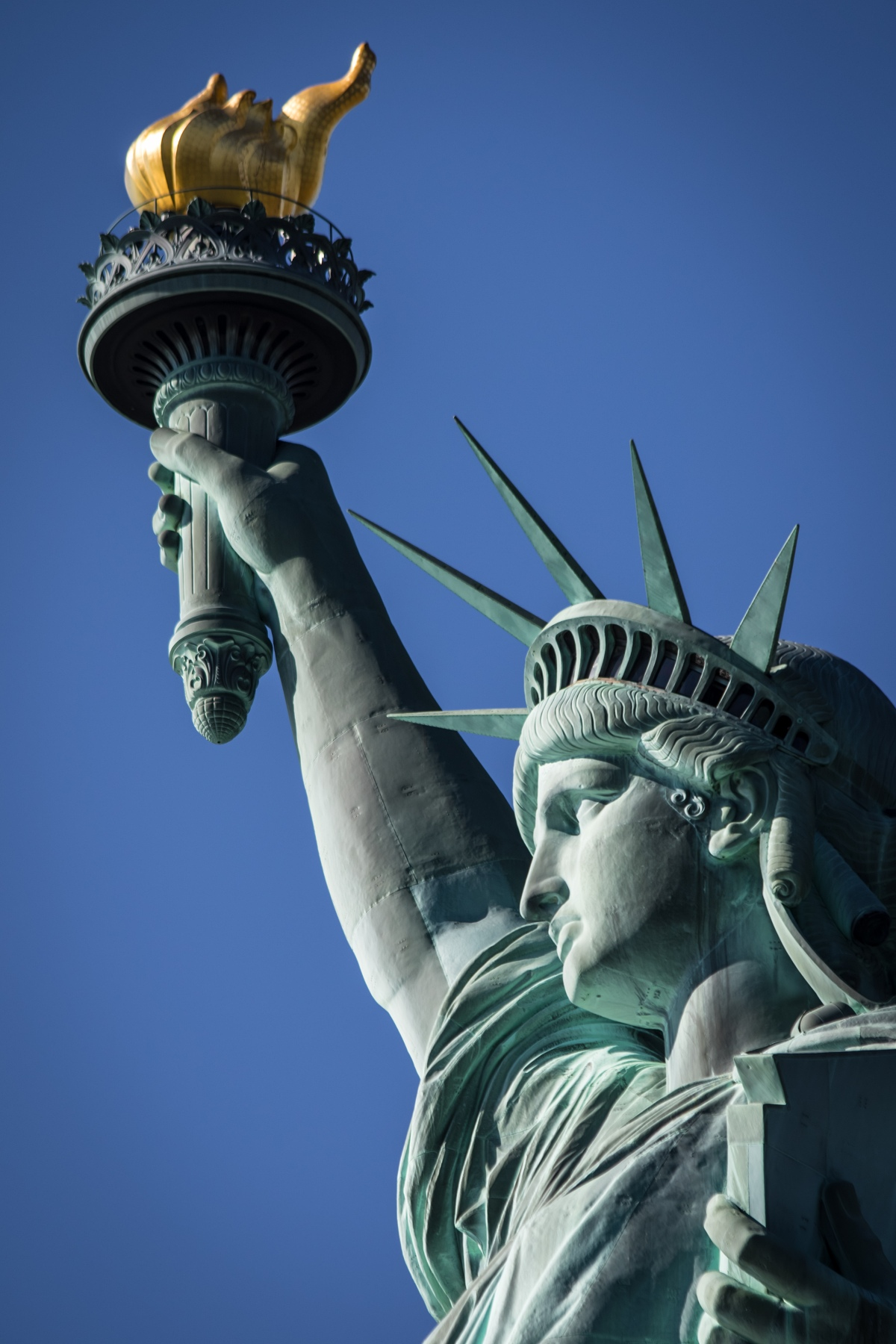 Statue of Liberty face and torch