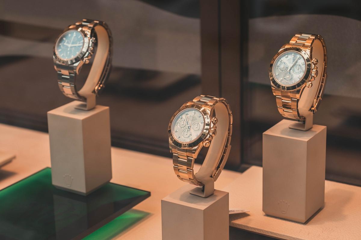 Rolex watches in display case