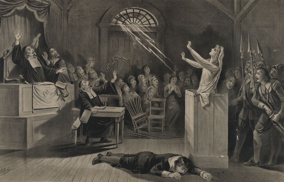depiction of the Salem witch trials from 300 years later