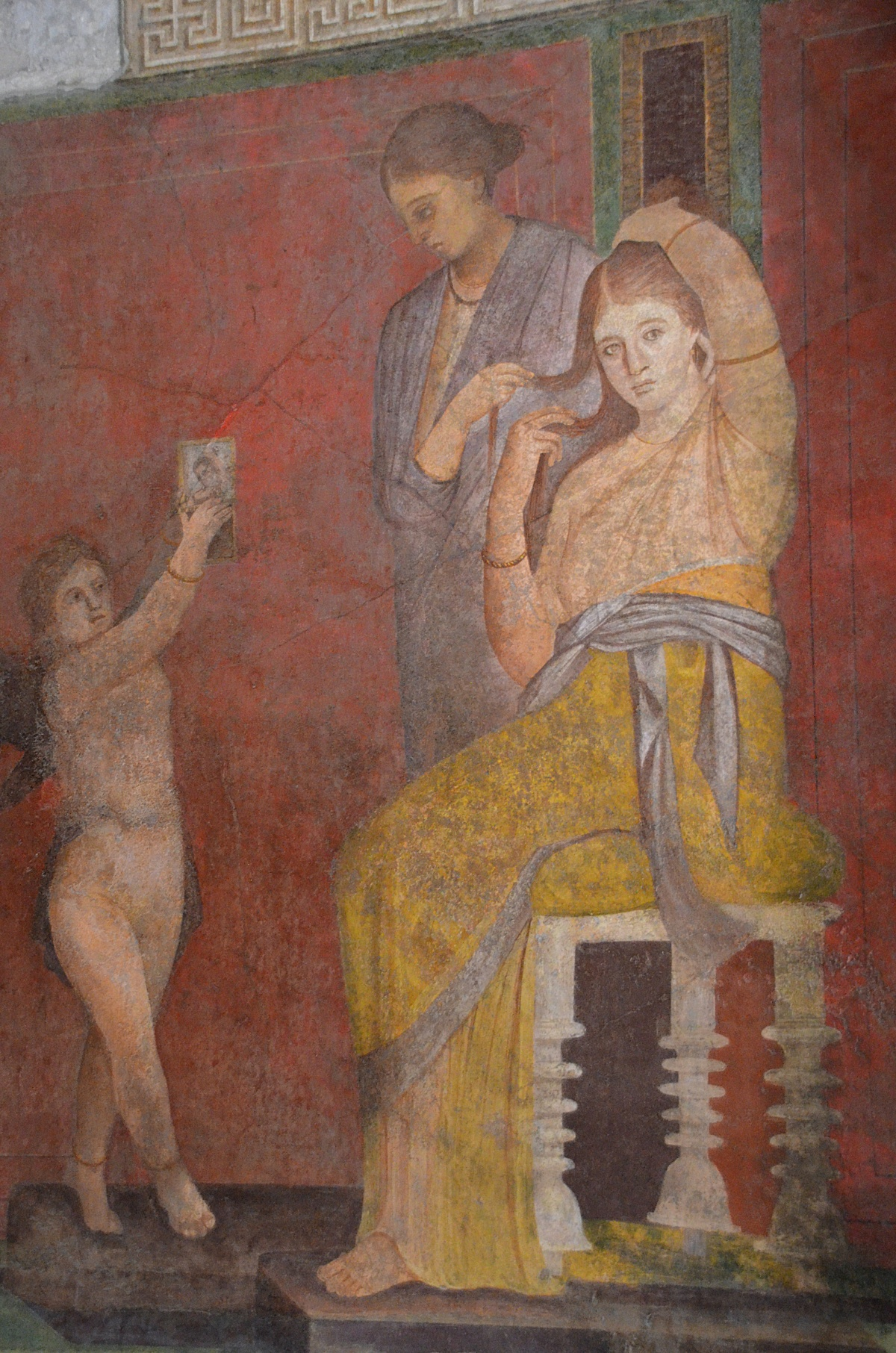 woman having her hair done by servant at Pompeii fresco