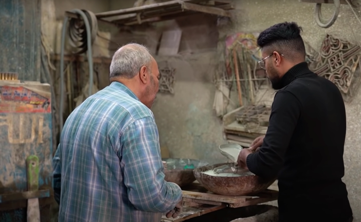 Egyptian tile maker Saied Hussain with an apprentice