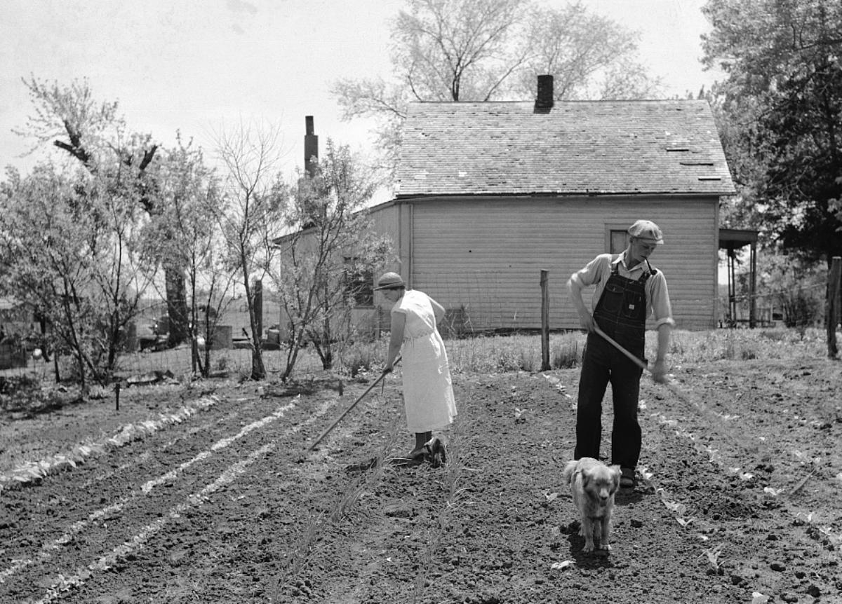 1930s couple gardening
