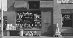 depression era grocery store exterior